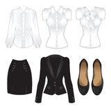 Set of office clothes. Office clothes. Clothes for women. Black suit, classic black shoes and various white blouse Royalty Free Stock Photography