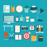 Set of office equipment icon flat design royalty free illustration