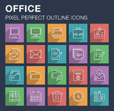 Set of office icons with long shadow. Stock Photos