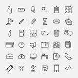 Set of office icons in modern thin line style. High quality black outline business symbols for web site design and mobile apps. Simple linear office pictograms Royalty Free Stock Photos