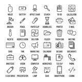 Set of office icons in modern thin line style. High quality black outline business symbols for web site design and mobile apps. Simple linear office pictograms Royalty Free Stock Photo
