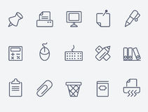 Set of 15 office icons. Office icons. Thin lines. Flat design stock illustration