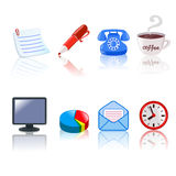 Set of office icons Stock Photography