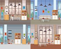 Set of office interiors. Collection vector illustration graphic design vector illustration