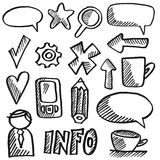 Set of office isolated doodles, sketches,  Stock Photo