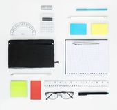 Set of office items. Workplace with office items and business elements on a desk. Concept for branding. Top view royalty free stock photos
