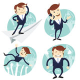 Set of office man: Office man flying an looking to the future, s Stock Images
