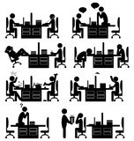 Set of office situation flat icons isolated on white Royalty Free Stock Images