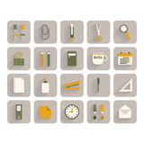 Set of office stationery icons Stock Photos