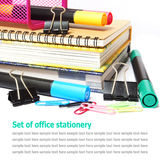 Set of office stationery isolated on white Stock Photos