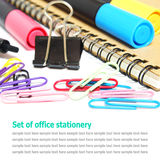 Set of office stationery isolated on white Stock Images