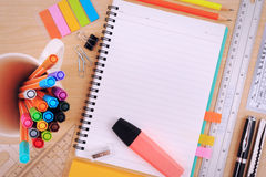 Set of Office Stationery or Math Supplies. Stock Photo
