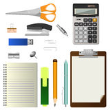 Set of office stationery tools Stock Photography