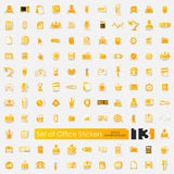 Set of office stickers Stock Images