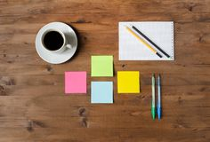 Set office supplies and a cup of coffee Stock Images