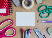 Set office supplies on table Stock Image