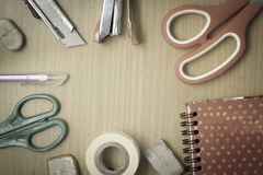 Set office supplies on  table vintage stlye Royalty Free Stock Images