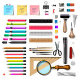 Set of office supplies on white background Royalty Free Stock Photo