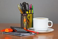 Set of office supply in support and coffee Royalty Free Stock Photos