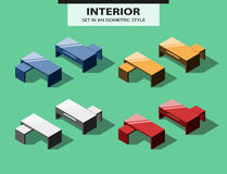 Set of office tables in isometric style Stock Image