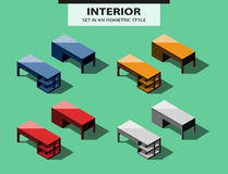 Set of office tables in isometric style Stock Images