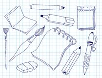 Set of office tools Stock Image