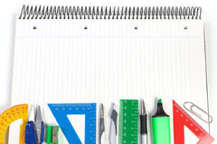 A set of office tools on the notebook to take notes. Stock Photo