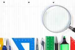 A set of office tools on the notebook to take notes. Royalty Free Stock Photos
