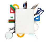A set of office tools on the notebook to take notes. Royalty Free Stock Photography