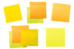A set of office/work related color paper sticky notes. Isolated on white background include clipping path Stock Photography