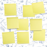 A set of office/work related coloured paper. A set of office/work related yellow coloured paper post-it notes Royalty Free Stock Photography