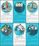 Set of Office Work Successful Teamwork Posters. Set of office work, successful teamwork posters, vector illustration isolated on bright blue and white backdrops vector illustration