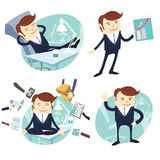 Set of officeman: lazy worker foot on desk, salesman with device Stock Images
