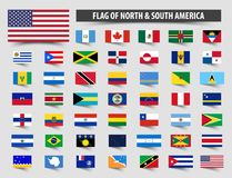 Set of official flags of North and South America . Floating flag design Royalty Free Stock Photo