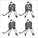 Set ofhockey motivational quotes Stock Photography