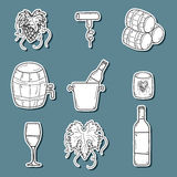 Set ofk cartoon wine stickers in hand drawn style Royalty Free Stock Photo