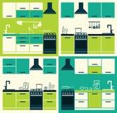 Set ofModern Kitchen Interior. Royalty Free Stock Images