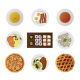 Set ofnine dishes from different world kitchens Royalty Free Stock Photos
