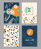 Set ogólnoludzcy szablony z ręka rysującymi kwiatami i ziele ilustracja wektor