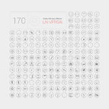 Set 170 ogólnoludzkich nowożytni cienieje kreskowe ikony dla sieci i wiszącej ozdoby Fotografia Royalty Free