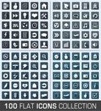 Set 100 ogólnoludzkiego mieszkania nowożytnych ikon Obraz Royalty Free