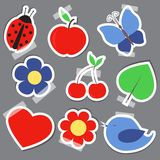 Set og elements for scrapbooking bird flower heart Royalty Free Stock Images
