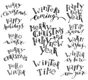 Set og hand written winter greetings for holiday cards, gift tags. vector illustration