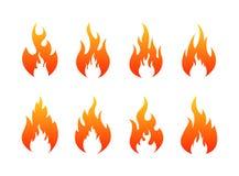 Set ogień płonie ikony Po?arnicza sylwetka r?wnie? zwr?ci? corel ilustracji wektora ilustracja wektor