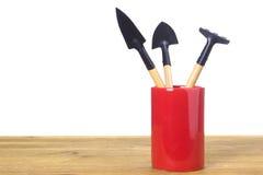 Set ogrodowi narzędzia w szklanym piórze Obraz Stock
