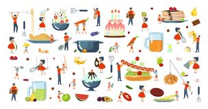 Set ogromny naczynie i malutcy ludzie charakterów rodzinnych ilustracja wektor