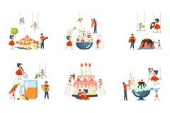 Set ogromny naczynie i malutcy ludzie gotować ilustracji