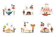 Set ogromny naczynie i mini ludzie ilustracja wektor