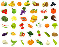 Set oh healhty food fruits and vegetables Royalty Free Stock Photo