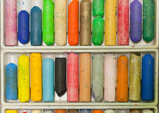 Set oil crayons for painting and drawing. Royalty Free Stock Photography